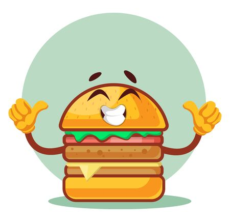 thumbs up happy burger, illustration, vector on white background. Archivio Fotografico - 132792220