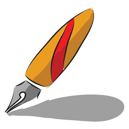 A red and orange colored fountain pen, vector, color drawing or illustration. Ilustração