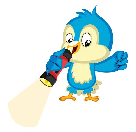 Blue bird holds a flashlight, illustration, vector on white background.