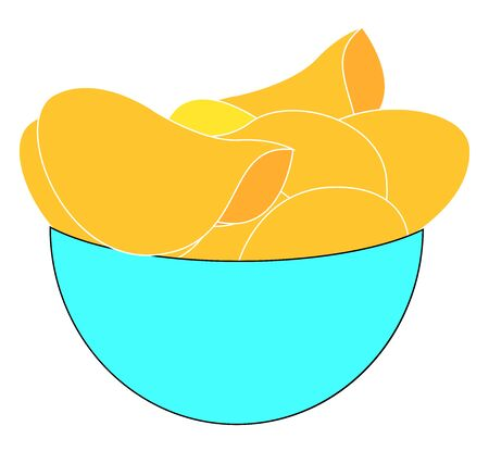 Chips in bowl, illustration, vector on white background.