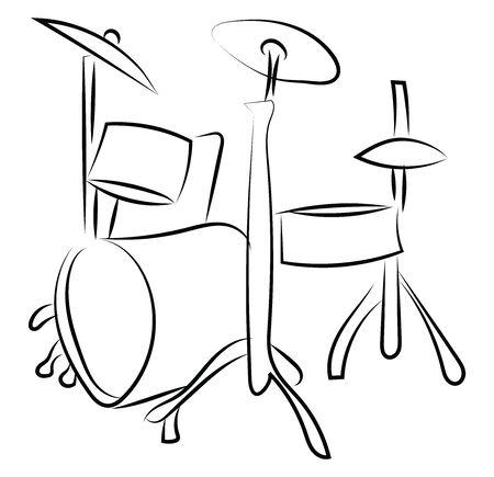 Drum set sketch, illustration, vector on white background.