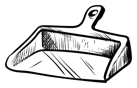 Dustpan drawing, illustration, vector on white background