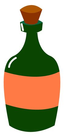 Bottle of rum, illustration, vector on white background.
