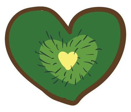 A heart shaped kiwi fruit, vector, color drawing or illustration. 일러스트