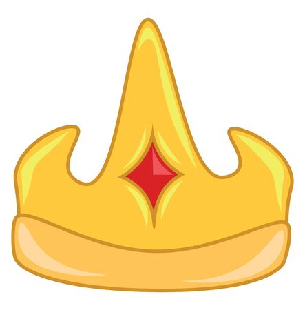A golden crown with orange stone at the center, vector, color drawing or illustration.