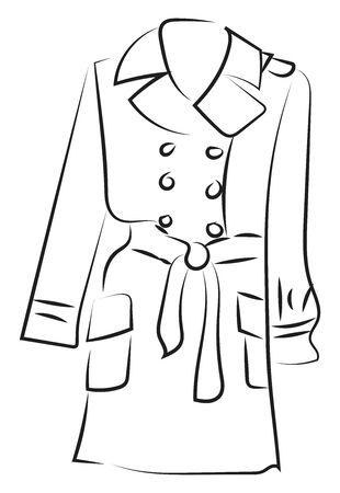 Coat sketch, illustration, vector on white background.