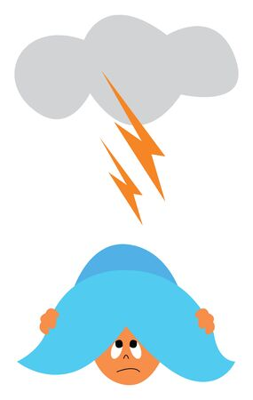 A heavy thunderstorm and a baby hiding under a pillow, vector, color drawing or illustration. Ilustração