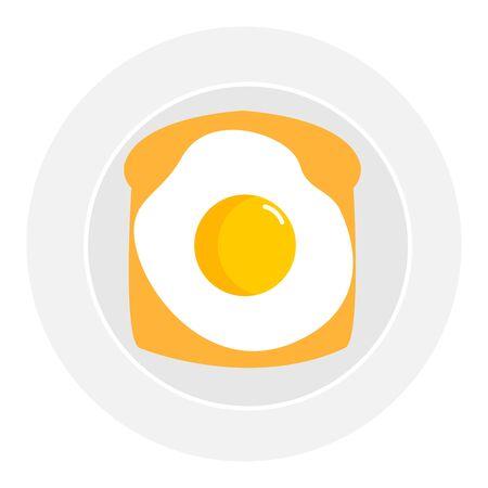 Omelette on plate, illustration, vector on white background