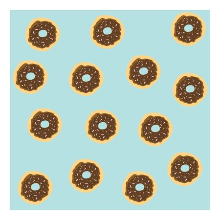 A cute blue background with chocolate donut, vector, color drawing or illustration. Ilustração