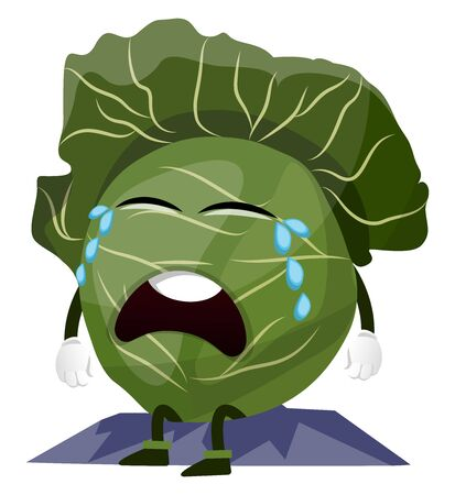 Crying cabbage, illustration, vector on white background. 向量圖像