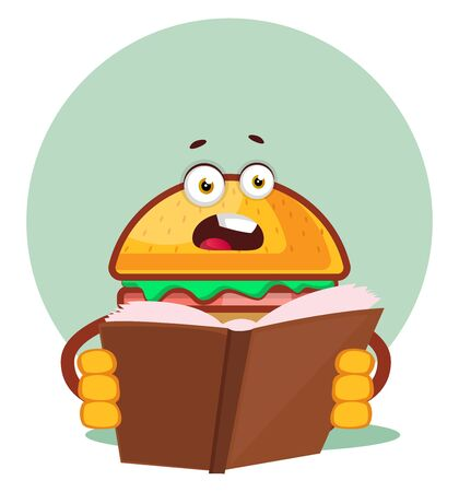 Burger is reading a book, illustration, vector on white background. Archivio Fotografico - 132792223