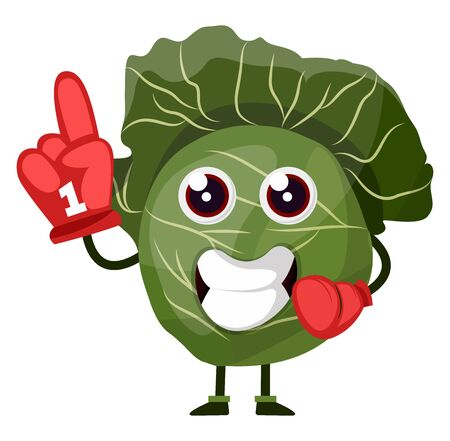 Cabbage with red cheering glove, illustration, vector on white background.