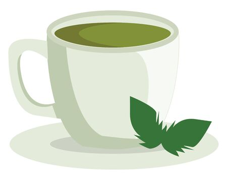 A healthy cup of green tea, vector, color drawing or illustration.