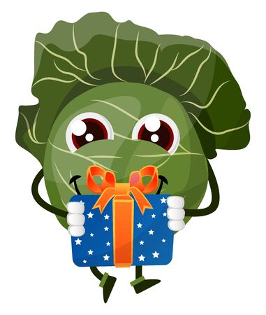 Cabbage with a gift, illustration, vector on white background.