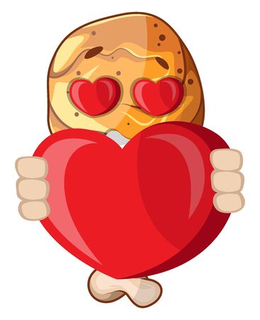 Fried chicken leg in love holding a heart, illustration, vector on white background.