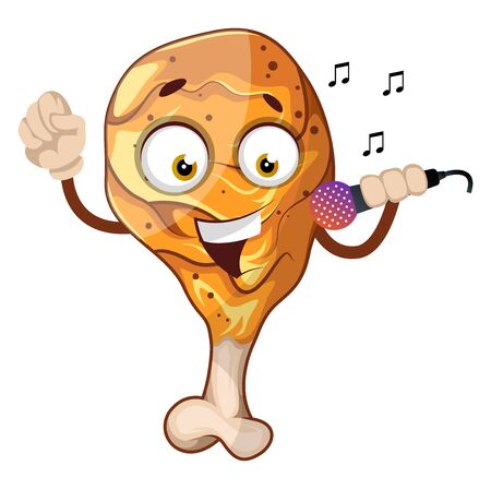 Fried chicken leg singing on a microphone, illustration, vector on white background.