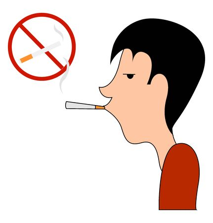 No smoking sing, illustration, vector on white background.