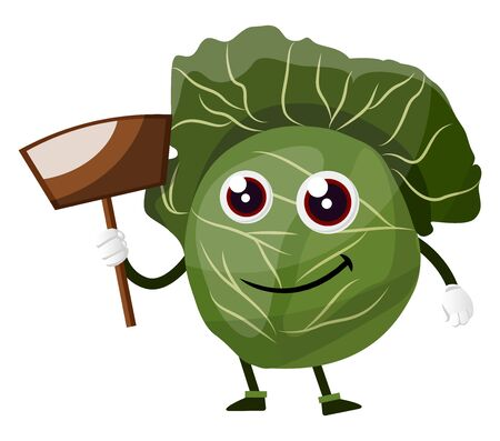 Cabbage with a wooden shovel, illustration, vector on white background.