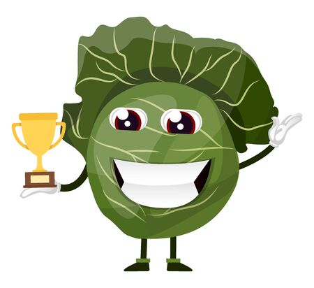 Cabbage is holding a trophy, illustration, vector on white background.