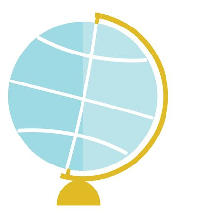 A blue doodle globe map with a gold holder, vector, color drawing or illustration.