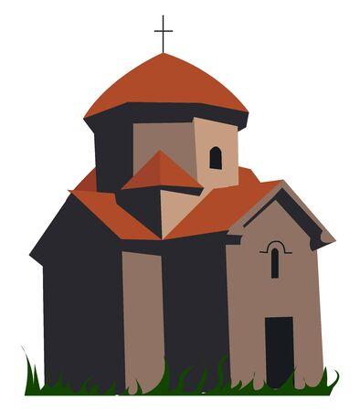 Armenian church, illustration, vector on white background. Illusztráció