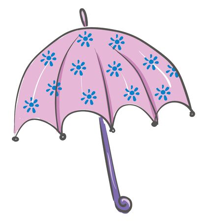 A purple colored umbrella with a blue colored flower design, vector, color drawing or illustration.