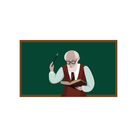 Old teacher with book, illustration, vector on white background.