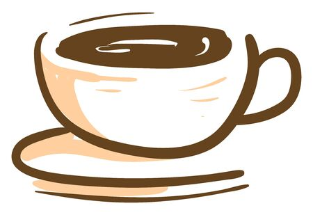 A hot coffee in a cup, vector, color drawing or illustration.