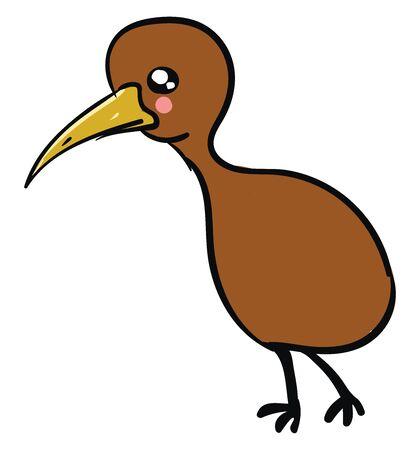 Cute kiwi bird, illustration, vector on white background. Ilustracja