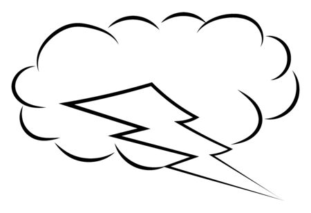 Thunder storm sketch, illustration, vector on white background.