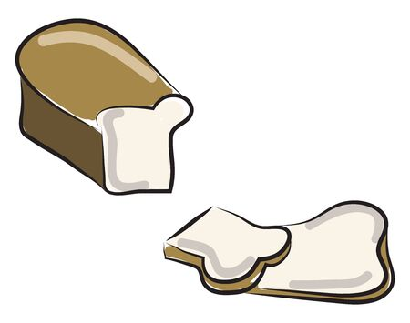 Cutting bread pieces, illustration, vector on white background. Ilustrace