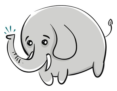 A fat baby elephant with a tiny tail, vector, color drawing or illustration.