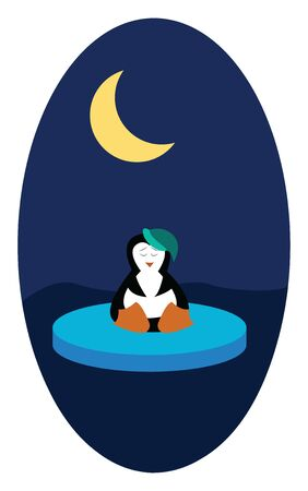 A penguin in a green hat sitting on a floating ice in the middle of the night with a moon, vector, color drawing or illustration.