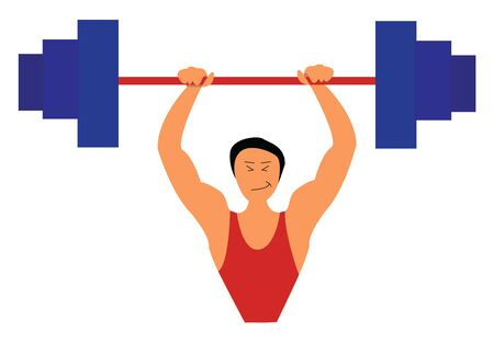 Sportsman lifting a heavy weight, vector, color drawing or illustration.