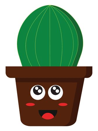 A cartoon of a happy brown pot with sparkling eyes and a cactus, vector, color drawing or illustration.