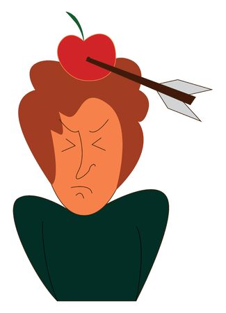 An arrow directly hitting the apple on the head of a woman, vector, color drawing or illustration.