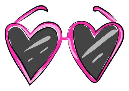 Pink heart glasses, illustration, vector on white background