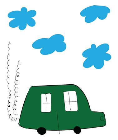 A green car emitting a smoke with 4 blue clouds above, vector, color drawing or illustration.