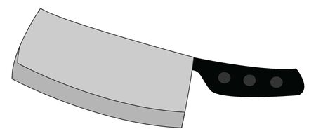 Big silver knife, illustration, vector on white background.