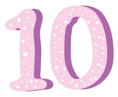 Cute pink number ten, illustration, vector on white background.