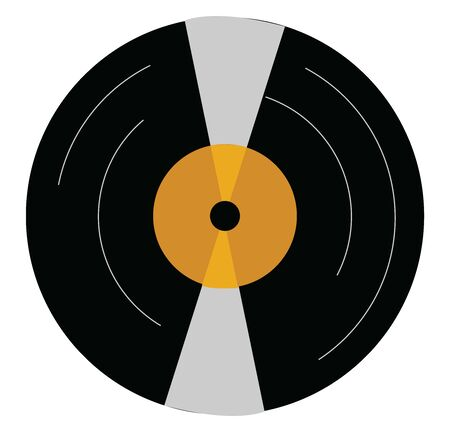 An old record, illustration, vector on white background. Ilustração