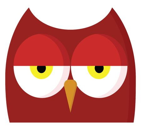 A tired owl with its eyes half open, vector, color drawing or illustration.