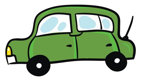 Long green car, illustration, vector on white background.