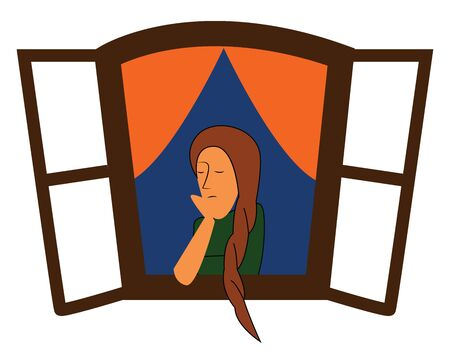 A girl with a long hair peeping out of a window, vector, color drawing or illustration.