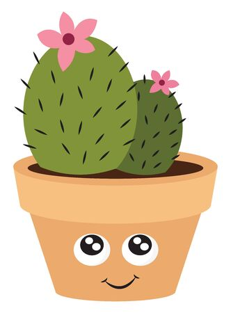 Cute cactus with pink flower, illustration, vector on white background.