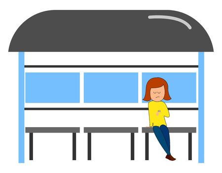 Girl waiting for a bus, illustration, vector on white background.