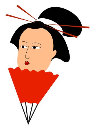 Geisha with tied hair, illustration, vector on white background.