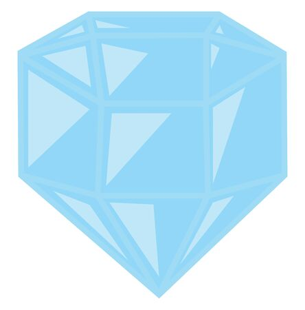 A blue and shiny diamond, vector, color drawing or illustration.