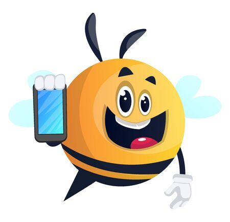 Bee using a smartphone, illustration, vector on white background.