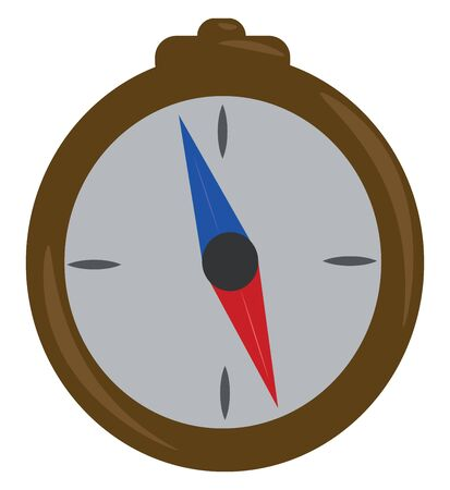 A blue compass with red and blue magnetic needle, vector, color drawing or illustration. Standard-Bild - 132779917
